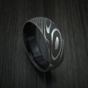 Webbwood lined Damascus Steel Ring by Revolution Jewelry Designs